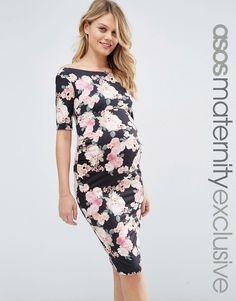 08843a21a2 ASOS Maternity Bardot Dress With Half Sleeve in Pink Floral Print at  asos.com