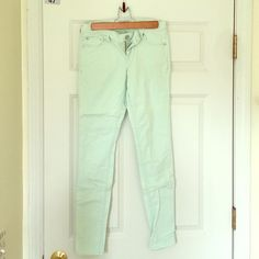 Mint green express skinny jeans Size two. Barely wore them. Great condition. Skinny jean. Soft Jean material. Express Jeans Skinny