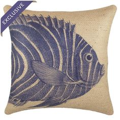 Jute pillow with a fish motif. Handmade in the USA.   Product: PillowConstruction Material: Jute coverCo...