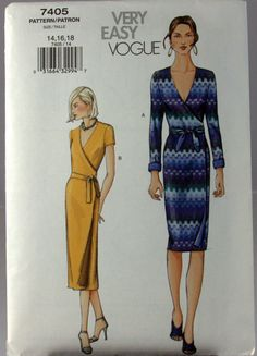 Items similar to Vogue Very Easy Misses Wrap Dress Sewing Pattern, Size 14/16/18 on Etsy