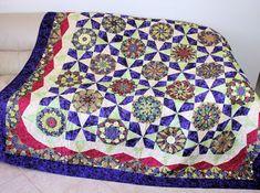 Kaleidoscope Garden Bed Quilt  Purple Maroon by CactusPenguin