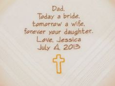 Father of the Bride Personalized  Wedding  Hankerchiefs Handkerchiefs with Cross Christian Catholic religious wedding
