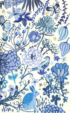 pattern, painting, design, illustration, blue, floral, flowers, rabbit, simple, drawing