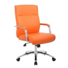 Boss Office Products Modern Executive Conference Chair - Multiple Colors, Orange