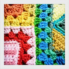 Joining Granny Squares of Different Sizes - from things to make and do (Granny-a-Day Project)