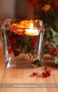 Fall Floating Candle Holder · Candle Making | CraftGossip.com