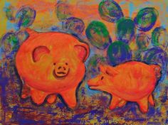 Acrylic painting with orange pigs Mexican art by MyMexicanArt, $85.00