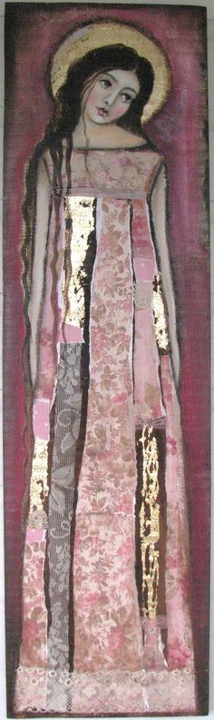 Lovely piece of art: a modern Madonna collage in pinkish lilac. Source is jpeg, so there are no artist/title details. If you know either, please comment.