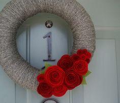 Yarn Wreath Felt Handmade Door Decoration - Classic Romance 12in