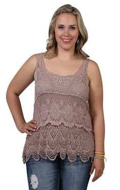 plus size crochet tiered tank, size 1X - $25.90