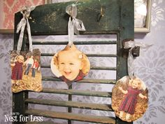 Fairly easy DIY photo ornaments. Requires a pre-made ornament (she used clearance mirrored ones), sticker paper, possibly paint, and some sort of cutting tool.