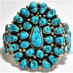 Vintage Sleeping Beauty Turquoise Sterling Silver Cuff Bracelet