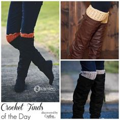 I love this free crochet boot cuff pattern. Boot cuffs are crazy popular right now. This pattern is a great beginner pattern as well. Crochet Boot Cuff Pattern, Knitted Boot Cuffs, Crochet Boots, Crochet Mittens, Knit Boots, Crochet Slippers, Free Crochet, Knit Crochet, Crochet Ideas