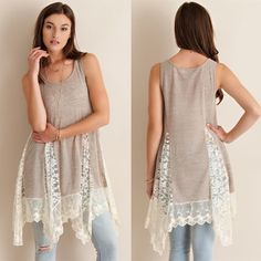 🚨1 HR SALE🚨CHARLOTTE lace tunic top - SAND A solid, sleeveless tunic top featuring bottom lace detailing throughout. Semi- sheer. Knit. Lightweight.  100%POLYESTER Bellanblue Tops Blouses
