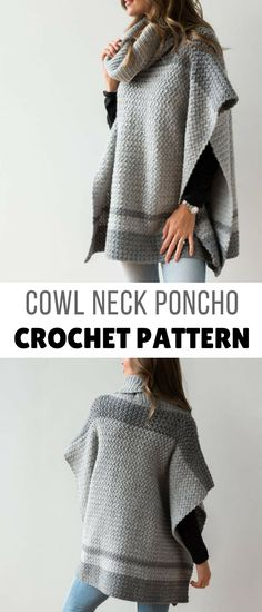 what a great crochet poncho pattern, love the gray and the stitching, seems pretty easy to follow, going on the list lol #crochetponcho #crochetponchopattern #crochetsweaterpattern #womenscrochetsweaterpattern #crochet #crochetpatterns #poncho #affiliate #ponchopatterncrochet