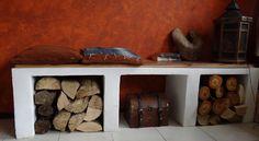 houtdroogbankje: maak van celbetonblokken een bankje en bestrijk dat met stuc pasta. paar planken erop en voilá