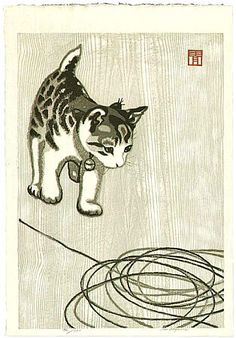 This is a JAPANESE BOBTAIL KITTEN !!!  -Just the most fun, extremely smart and loyal kitties EVER !  Masaharu Aoyama 1893-1969 - Kitten and Wool