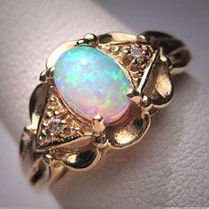 Antique Vintage Australian Opal Ring Wedding