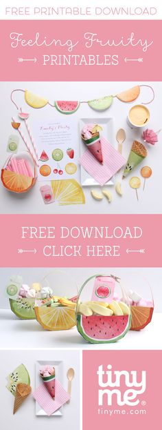 Fruity' Free Fruit Printables Treat yourself to our sweet selection of Free 'Feeling Fruity' Printables Fruit Birthday, Summer Birthday, 2nd Birthday Parties, Birthday Ideas, Themed Parties, Mouse Parties, Party Printables, Free Printables, Freebies Printable