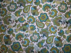 "Fabric Vintage Paisley Concord Textile Co 70's Green 1 yd 35"" by 45""  Crafts #ConcordTextileCoInc"