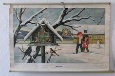 Vintage Schulwandkarte Vögel im Winter DDR von VintageWarenhaus auf DaWanda.com