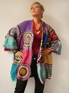 Plus Size Crocheted Cardigan-Custom Made - Crocheted Clothes by SubRosa - Jackets - Men's Fashion - DaWanda - your-craft.org
