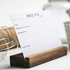 Recipe Card Set & Holder by Yes Ma'am Paper + Goods on Scoutmob Shoppe Recipe Card Holders, Recipe Cards, Recipe Box, Place Card Holders, Mason Jar Crafts, Mason Jar Diy, Diy Home Decor Projects, Projects To Try, Craft Projects