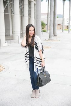 fall striped cardigan with fringe booties