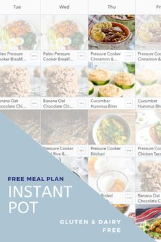 Instant Pot Meal Plan - Care Ideas Tips Whole 30 Recipes, Real Food Recipes, Healthy Recipes, Dinner This Week, Banana Oats, Free Meal Plans, Dairy Free, Gluten Free, Menu Planning