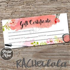 Watercolor makeup, Gift Certificate, printable, instant download