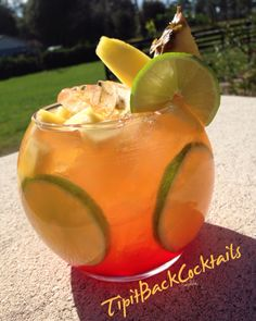 Mango Pineapple Sangria..  Fill glass with ice, lime wheels, pineapple and Mango chunks. Add 1/2 oz of grenadine.  Build the following ingredients in cocktail shaker with ice:  1 1/2 oz Cruzan Mango Rum  1 1/2 oz Svedka Mango Pineapple Vodka 1/2 oz Lime juice  2 oz pineapple juice  Shake... Pour... Top off with Arbor mist wine ( Arborita Mango Margarita flavor )  Garnish with Mango Spear, Pineapple wedge and Lime Wheel!!