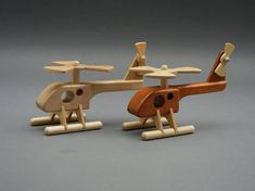 Ready for take off. This little helicopter will bring hours of fun to any youngster who has a love for planes. Both rotors spin so your child can pretend to fly rescue missions or just get from place to place. The helicopter is available in either mahogany with maple rotors or in