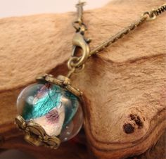 Lamp Work Bead Pendant Chain Bracelet