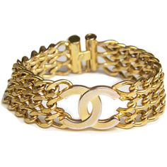 Chanel Vintage Cuff Bracelet In Gold Plating ($675) ❤ liked on Polyvore featuring jewelry, bracelets, chanel, chanel jewelry, chanel bangle, cuff bangle bracelet and gold plated jewellery