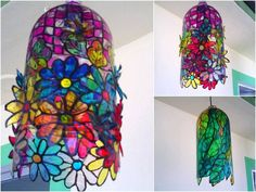 Cut out shapes, paint in assorted colours and create a recycled plastic bottle lamp shade! crafts pop bottles | Plastic Soda bottle | Plastic craft - Plastic