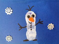 momstown burlington: Frozen Craft - Thumbprint Olaf Snowman
