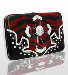 Red Zebra Western Style Cross Wallet with Rhinestones - Handbags, Bling & More!