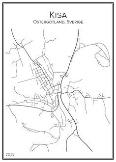 Kisa. Östergötland. Sverige. Map. City print. Print. Affisch. Tavla. Tryck. Stadskarta.