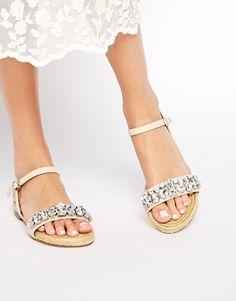 Dune Lemins Embellished Leather Espadrille Sandals