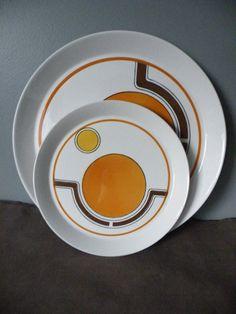 Funky Vintage Mikasa orbit orange and yellow dinnerware by MeldT, $55.00
