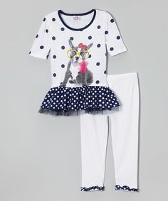 This White Polka Dot Ruffle Tunic & Leggings by Beautees is perfect! #zulilyfinds
