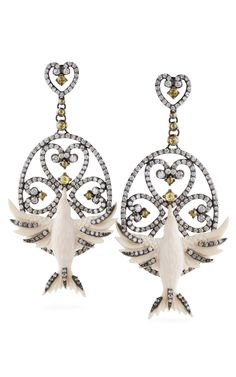 Bochic Carved Mammoth Caged Bird Earrings at Moda Operandi