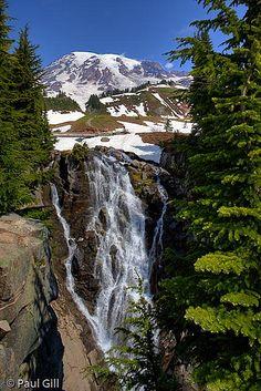 Mount Rainier above Myrtle Falls in Paradise Valley, Mount Rainier National Park, Washington; photo by Paul Gill