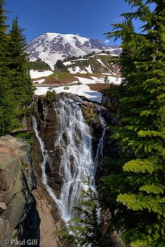 Mount Rainier above Myrtle Falls in Paradise Valley, Mount Rainier National Park, Washington; photo by Paul Gill