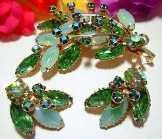 Vintage Brooch Earring Set Lime Green & by BrightgemsTreasures, $34.50