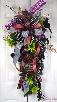 Happy Halloween Teardrop Swag Wreath by Gaslight Floral Design. http://GaslightFloralDesign.com