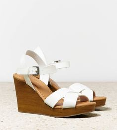 White  AEO Strappy Wooden Wedge