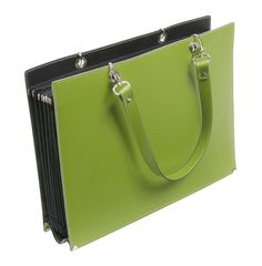 Recycled Leather File Tote Lime