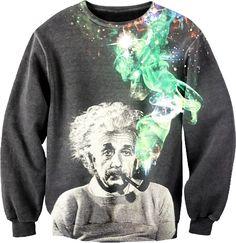 Albert Einstein smoking pipe with colorful smoke black sweatshirt
