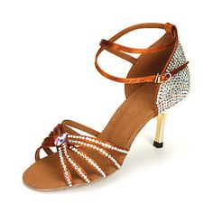 Women's Satin Ankle Strap Latin / Ballroom Dance Shoes With Rhinestone (More Colors) – USD $ 79.99